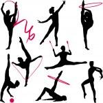 Rhythmic gymnastic silhouettes — Stock Vector #2545745