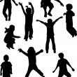 Kids silhouettes — Stock Vector