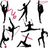 Rhythmic gymnastic silhouettes — Stock Vector