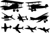 Airplanes silhouettes — Stock vektor