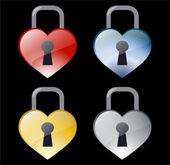 Padlock hearts — Stock Vector