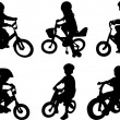 Children riding bicycle - Stock Vector