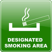 """designated smoking area"" sign — Stock Vector"