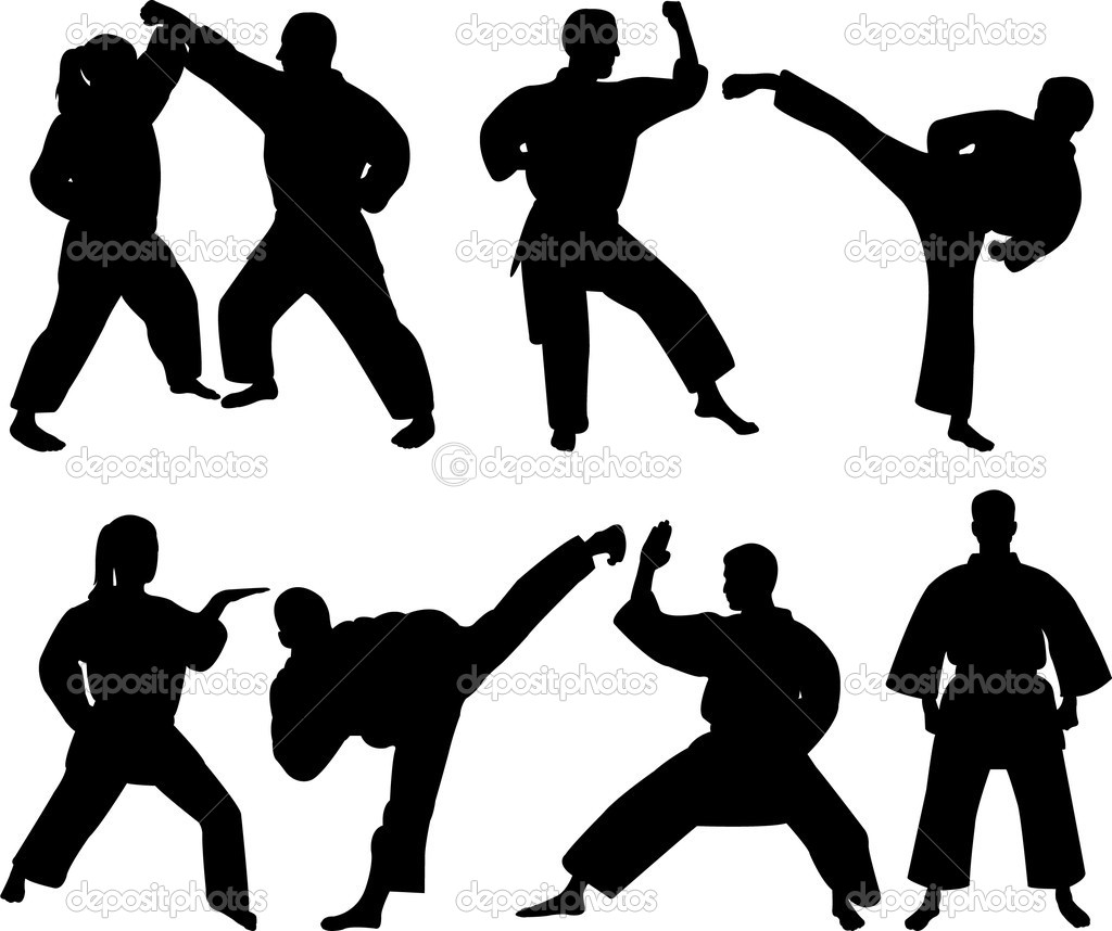 Karate fighters - vector — Stock Vector #2558708
