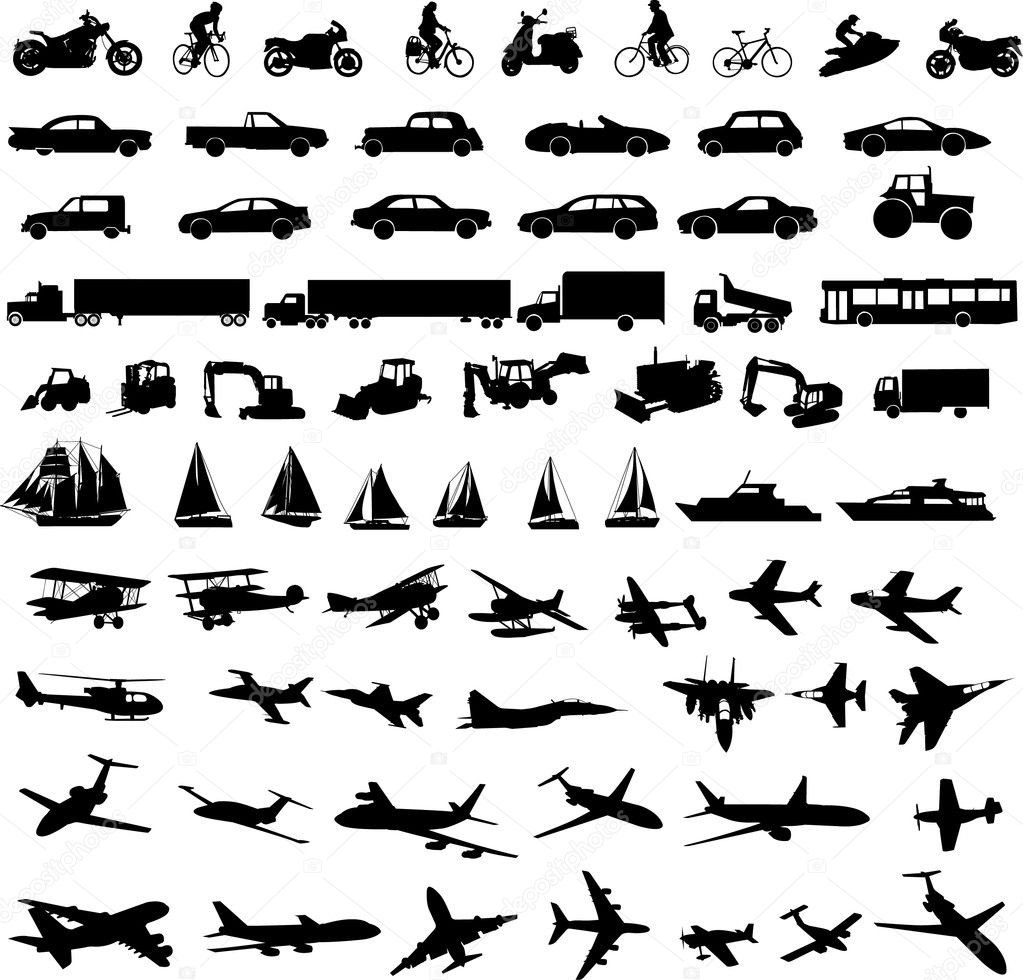transportation silhouettes collection - vector — Image vectorielle #2558755