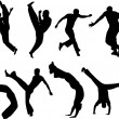 Capoeira fighters silhouettes - Stock Vector