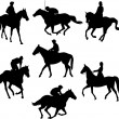 Riding horses silhouettes — Stock Vector