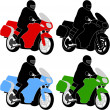 Stock Vector: Motorcyclist