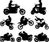 Las siluetas de los motociclistas - vector — Vector de stock