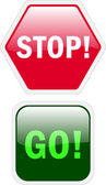 Stop and go buttons — Stock Vector