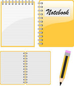 Notebook, notepad and pencil — Stock Vector