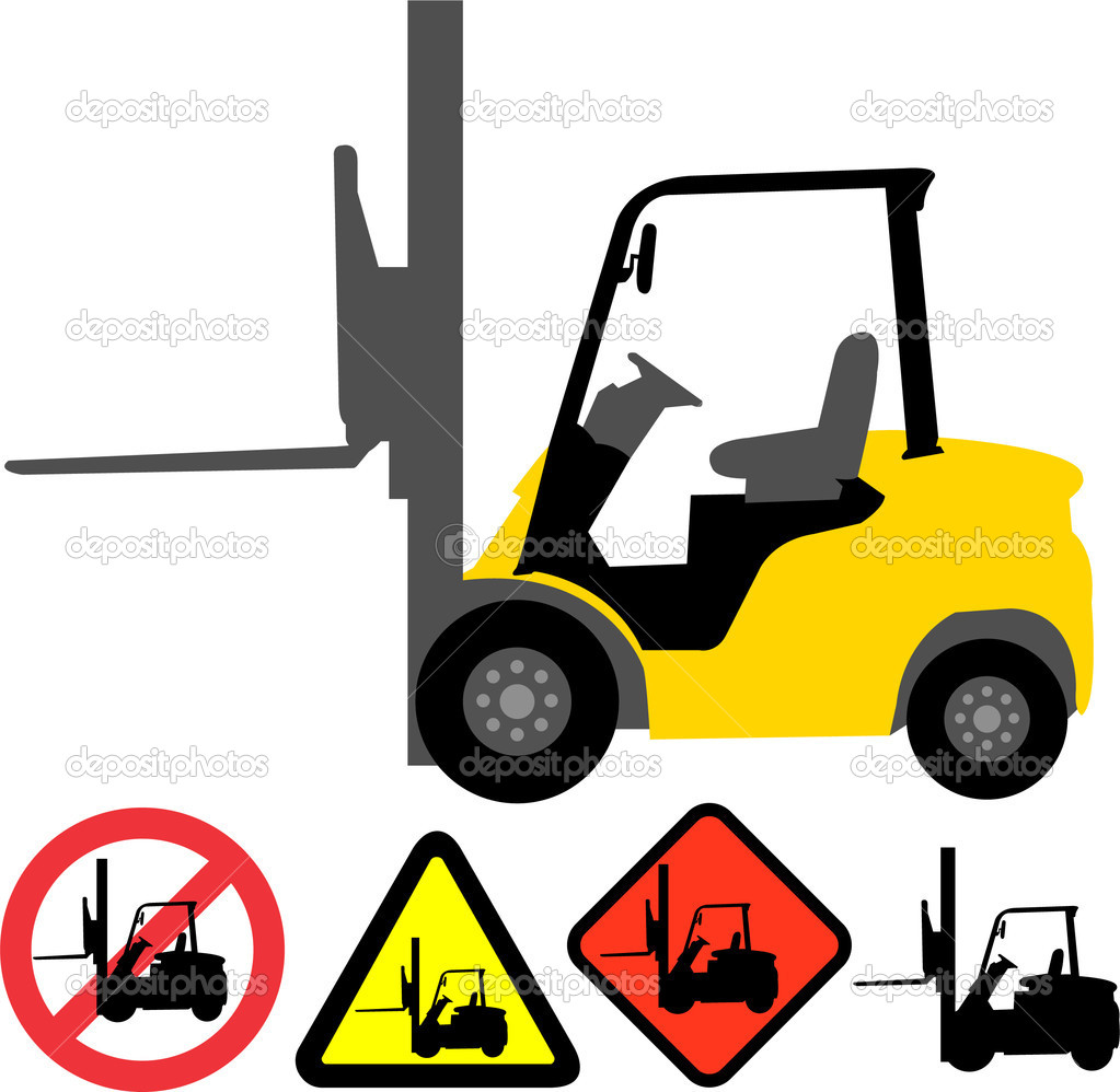 Forklift illustration and signs - vector — Stock Vector #2578294