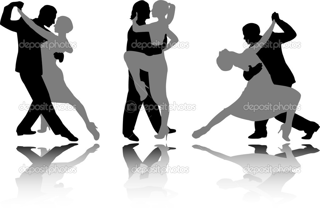 Dance couples silhouettes - vector  Stock Vector #2578671