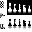 Stock Vector: Chess pieces and chessboards