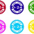 "Stock Vector: ""0-24"" colorful stickers"
