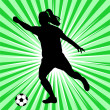 Woman soccer player — Image vectorielle
