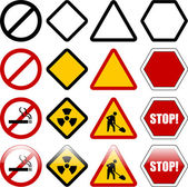 Shapes for warning and restriction signs — Stock Vector