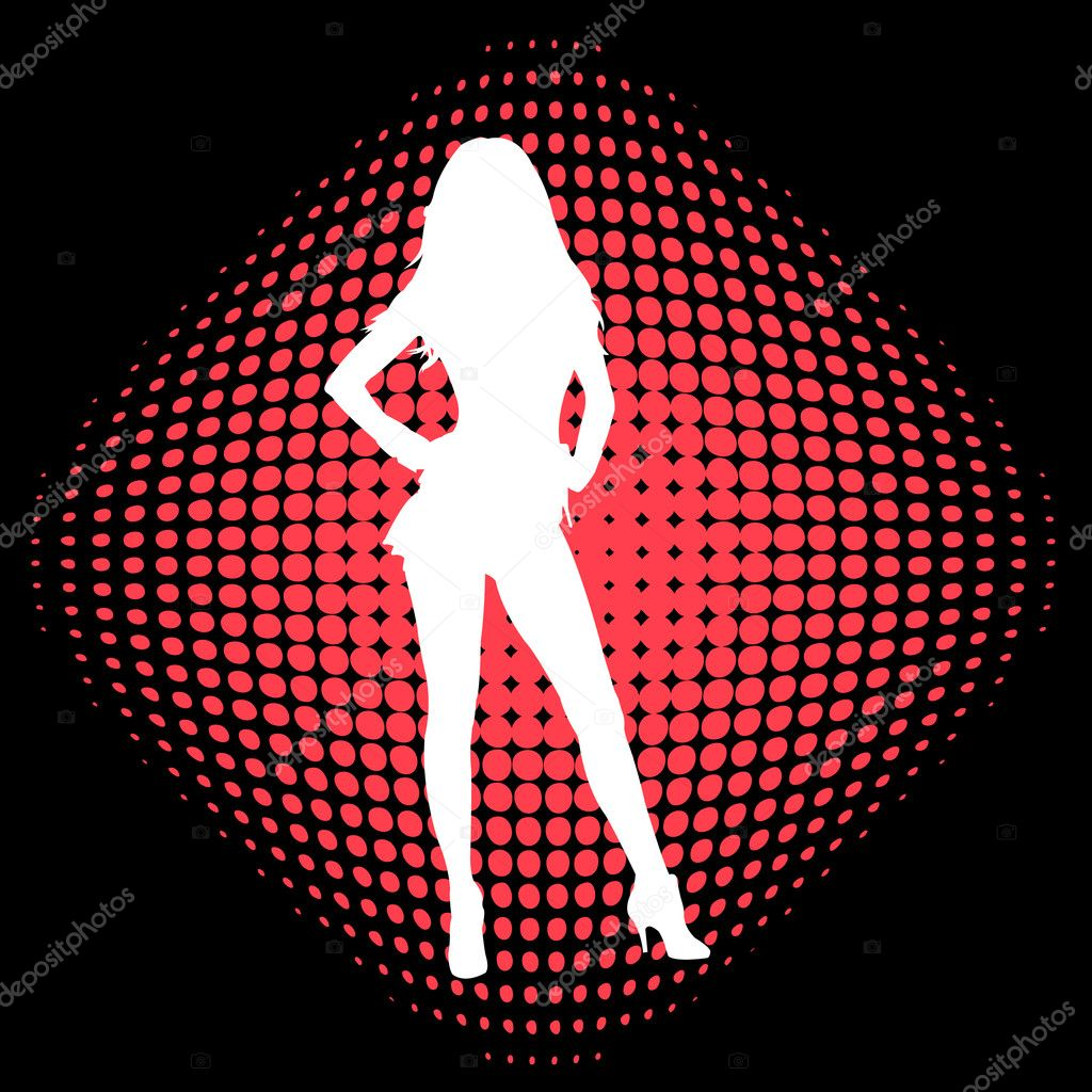 Sexy girl on the halftone background - vector — Stock Vector #2619701