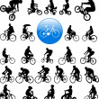 Bicyclists silhouettes — Image vectorielle