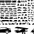 Stock Vector: Transportation silhouettes