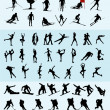 Winter sports silhouettes - Image vectorielle