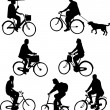 Riding bicycles — Image vectorielle