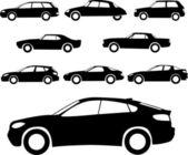 Bilar silhuetter — Stockvektor
