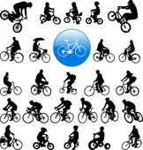 Bicyclists silhouettes — Vecteur