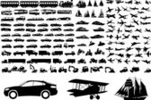 交通機関のシルエット — ストックベクタ