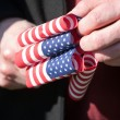 Flags and Hands — Stock Photo