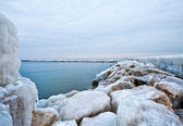 Frozen Lake Michigan Pier — Stock Photo
