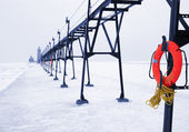 Lifebuoy in Winter — Stock Photo
