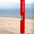 Stock Photo: Beach Emergency Call Box