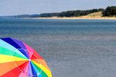 Beach with Umbrella — Stock Photo