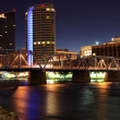 Stock Photo: Grand River at Night