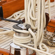 Winch rope and pulleys - Stock Photo