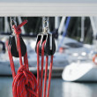 Stock Photo: Sailing pulleys with rope