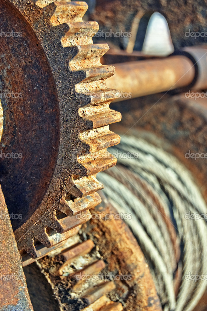 Rusty cogged wheel and of an old mechanism — Stock Photo #1974256