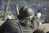 Soldier shooting — Stock Photo