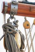 Wooden sailboat detail — Stock Photo