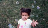 Toddler Girl Bubbles — Stock Photo