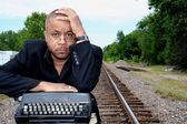 Writer on the Tracks — Stock Photo