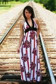 Model on Train Tracks — Stock Photo