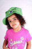 Girl in Green Hat — Stock Photo