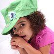 Girl in Green Hat — Stock Photo