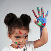 Girl and paint — Stock Photo