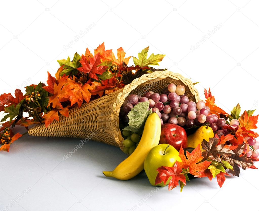 Cornucopia also called a horn of plenty filled with an abundance of fruit. — Stock fotografie #1929167