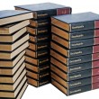 Encyclopedia set in three stacks — Stock Photo