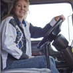 Woman truck driver — Stock Photo