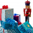 Nutcracker guarding presents — Stock Photo
